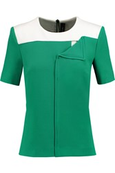 Roland Mouret Hanch Two Tone Crepe Top Green