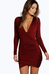 Boohoo Slinky Drape Front Sleeve Bodycon Dress Berry