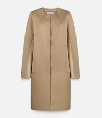 Christopher Kane Corrugated Collarless Coat Nude And Neutrals