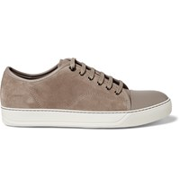 Lanvin Cap Toe Suede And Leather Sneakers Neutrals