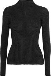 Markus Lupfer Rosie Metallic Ribbed Knit Sweater Black