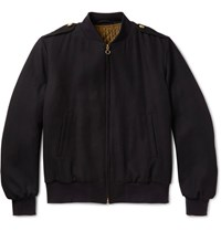 Kent And Curwen Virgin Wool Twill Bomber Jacket Navy