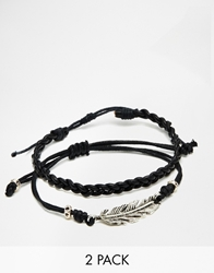 Asos Leather Bracelet Pack With Feather Black