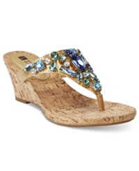 White Mountain Ablaze Embellished Thong Wedge Sandals Women's Shoes
