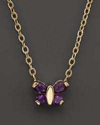 Bloomingdale's Amethyst Butterfly Pendant Necklace In 14K Yellow Gold 16 Gold Purple