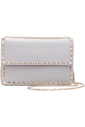 Valentino The Rockstud Leather Shoulder Bag Light Gray