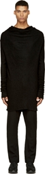 Ma Julius Black Knit Inlay Cowl Sweater