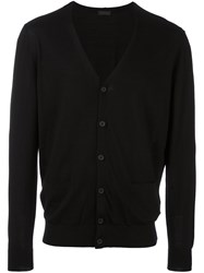Z Zegna Button Down Cardigan Black