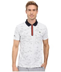 Lacoste T1 Short Sleeve Printed Ultra Dry W Zipper Placket White Navy Blue Corrida Men's Clothing