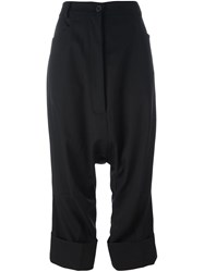 Rundholz Drop Crotch Cropped Trousers Black