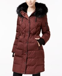 Bcbgeneration Faux Fur Trim Cinched Waist Puffer Coat Wine