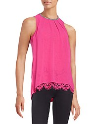 Design History Embellished Overlay Lace Tank Top Pink