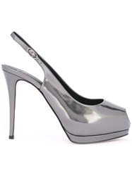 Giuseppe Zanotti Design Metallic Grey Slingback Pumps