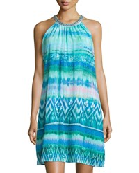 Neiman Marcus Printed Embroidered Neck Sleeveless Dress Teal