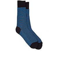 Barneys New York Men's Striped Mid Calf Socks Navy