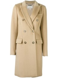 Michael Michael Kors Double Breasted Midi Coat Nude And Neutrals
