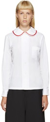 Comme Des Garcons White And Red Peter Pan Blouse