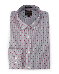 Neiman Marcus Extra Trim Fit Striped Clip Dot Dress Shirt Red Navy
