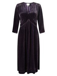 East Lace And Velvet Dress Plum