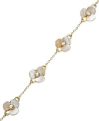 Kate Spade New York Bracelet Gold Tone Cream Disco Pansy Flower Thin Bangle Bracelet