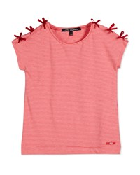 Lili Gaufrette Striped Bow Trim Jersey Tee Watermelon
