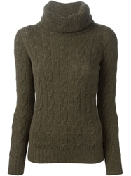 Ralph Lauren Black Cable Knit Turtle Neck Sweater Green