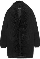 Junya Watanabe Honeycomb Pleated Jersey And Wool Blend Coat Black