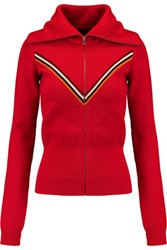Isabel Marant Achille Striped Wool Blend Cardigan Red