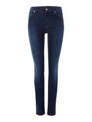 7 For All Mankind Rozie High Rise Skinny Jeans In Long Boston Blue Denim Mid Wash