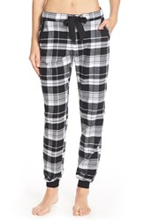 Women's Make Model Flannel Jogger Pants Black Serena Plaid