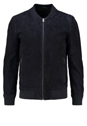 Selected Homme Shndublin Leather Jacket Dark Navy Dark Blue