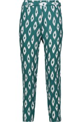 Equipment Carla Cropped Printed Washed Silk Straight Leg Pants Teal