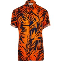 River Island Mens Orange Palm Print Short Sleeve Shirt