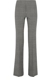 Theory Demitria Prince Of Wales Checked Stretch Wool Flared Pants Gray