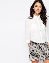 Pieces Lace Back Crop 3 4 Sleeve Shirt White