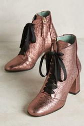 Anthropologie Paola D'arcano Caldoza Lace Up Ankle Boots Pink