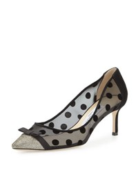 Jimmy Choo Dorothy Polka Dot Mesh Pump Light Bronze Black Lt Bronze Black