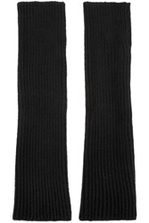 N.Peal Cashmere Ribbed Cashmere Fingerless Gloves Black