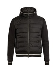 Moncler Quilted Down Panel Hooded Jacket Black