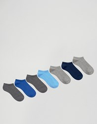 Asos Trainer Socks In Blue And Grey 7 Pack Multi
