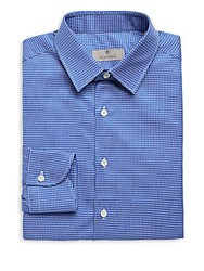 Canali Check Pattern Slim Fit Shirt Blue