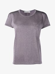 Golden Goose Metallic Lurex T Shirt Lilac Golden Denim
