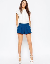 Traffic People Collette Pleated Shorts Blue