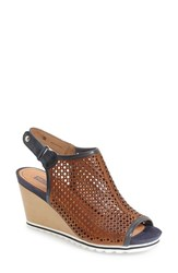 Women's Pikolinos 'Bali' Perforated Wedge Sandal Brandy Ocean Leather