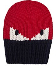 Fendi Men's Rib Knit Wool Hat Red