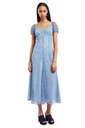 Anna Sui For Opening Ceremony Flocked Tulle Dress Baby Blue