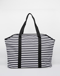 Pieces Striped Canvus Tote Blue