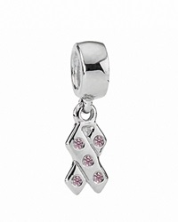 Pandora Design Pandora Dangle Charm Sterling Silver And Cubic Zirconia Pink Ribbon Moments Collection Silver Pink