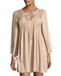 Dance And Marvel Crochet Long Sleeve Shift Dress Neutral