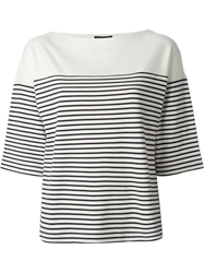 Theory Three Quarter Length Sleeve Horizontal Stripe T Shirt White